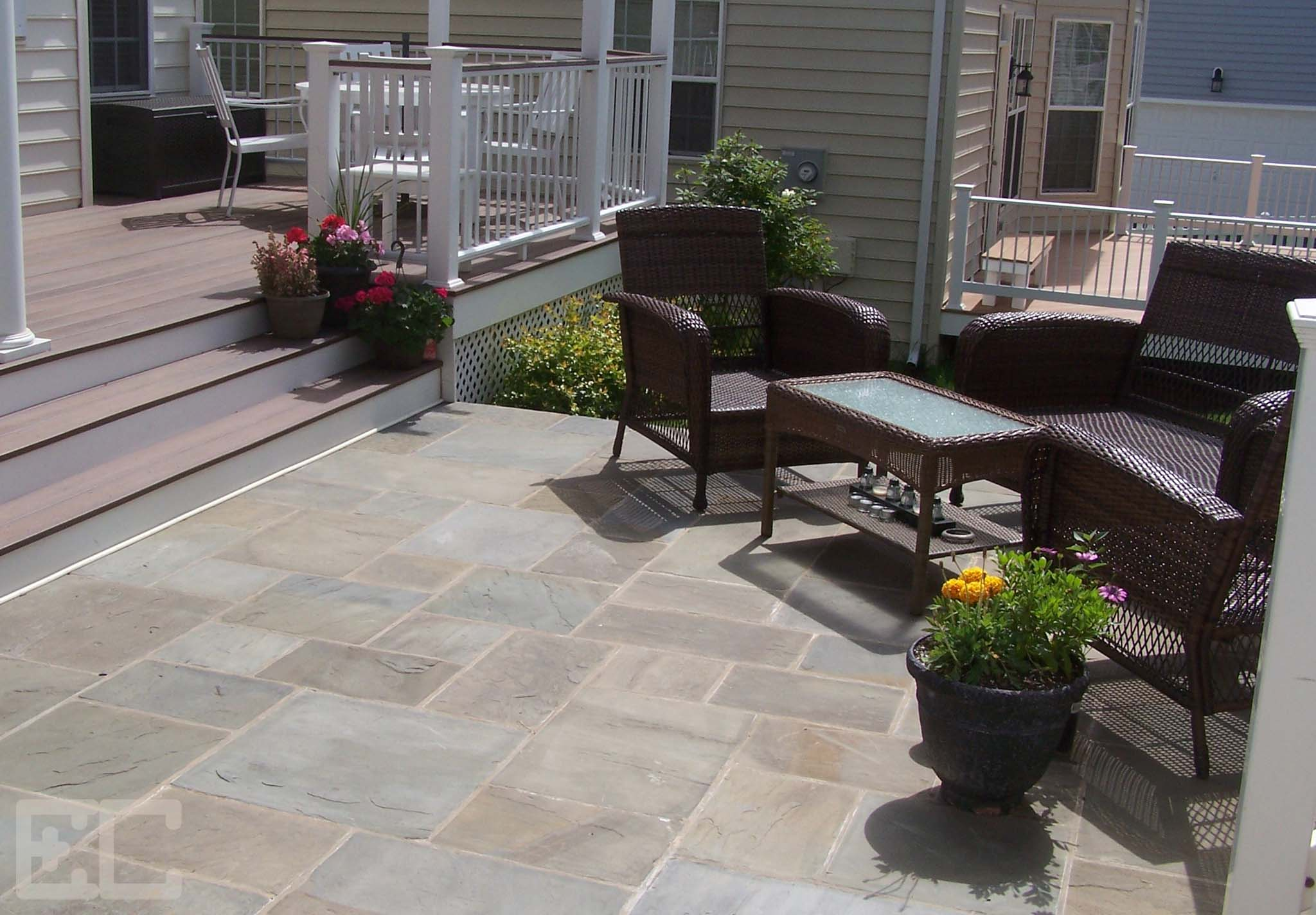 Stone Patio and Low Deck
