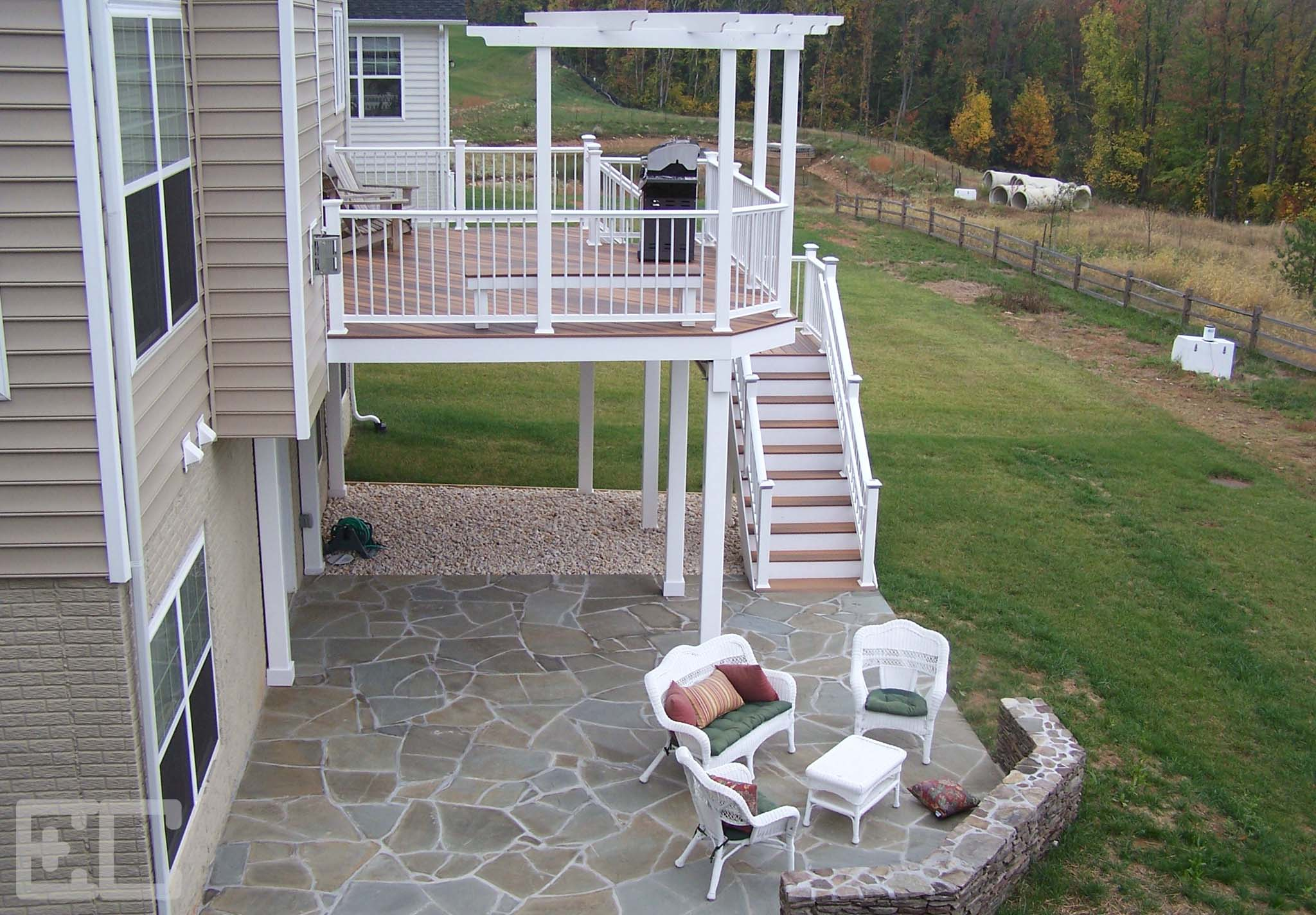 Upper Deck and Stone Patio
